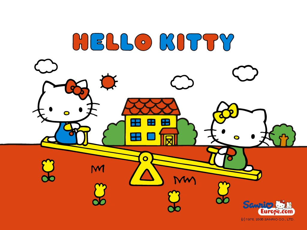 Hello-Kitty-and-Mimmy-are-Playing-at-Seesaw