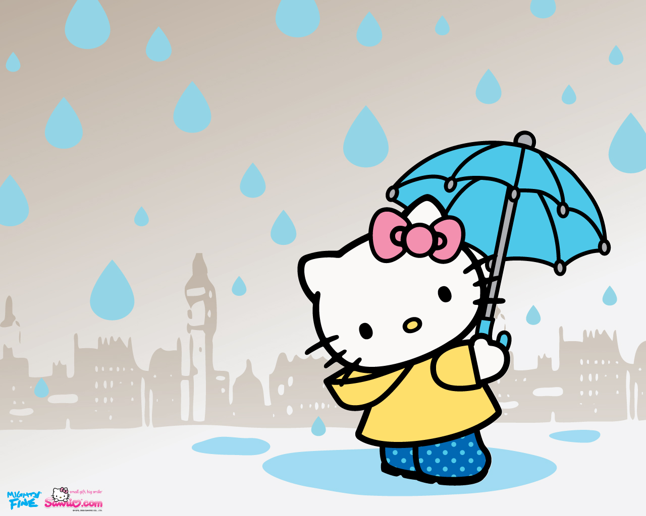 lovely-hello-kitty-wallpapers-under-the-umbrella
