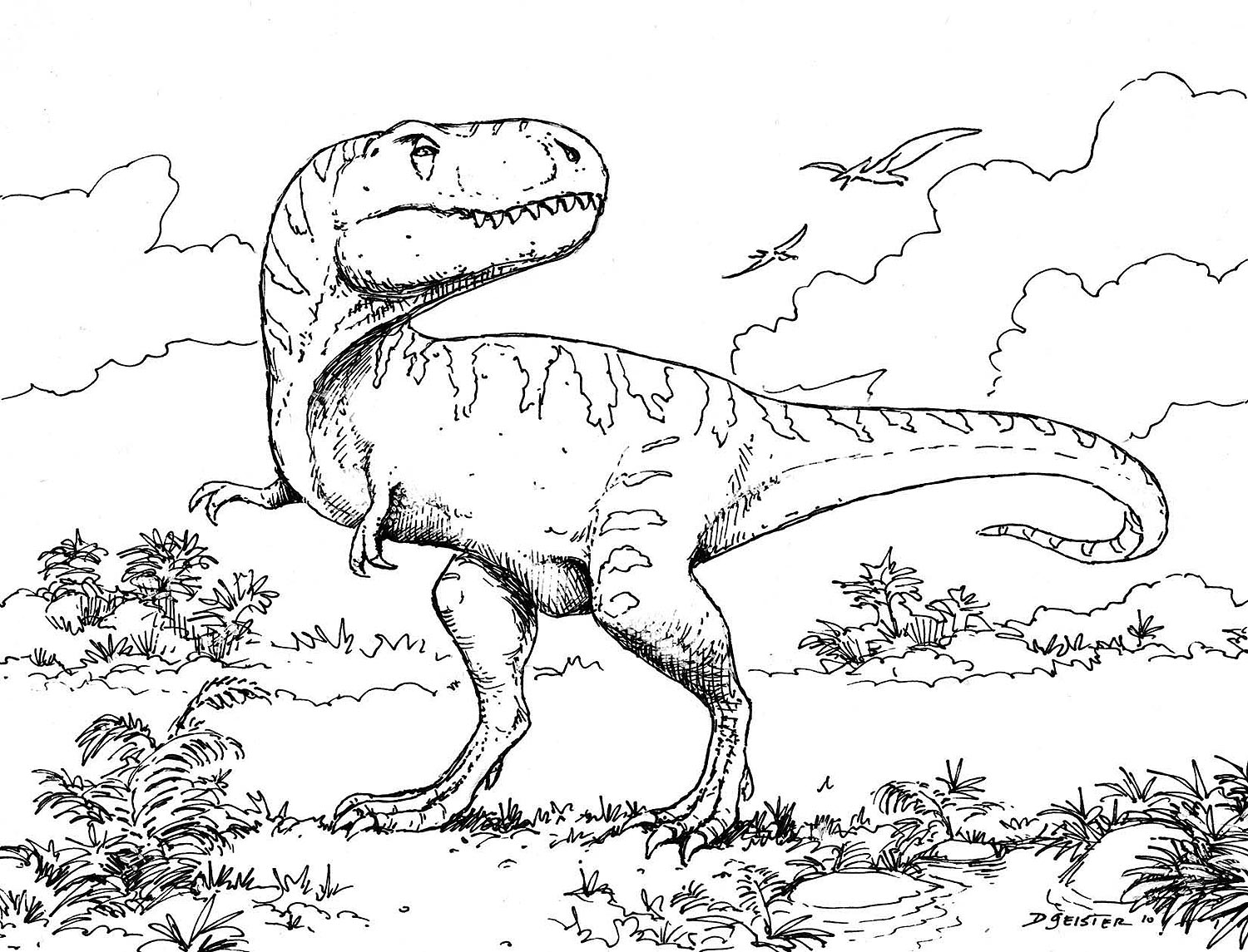 dinosaur fight coloring pages - photo#8