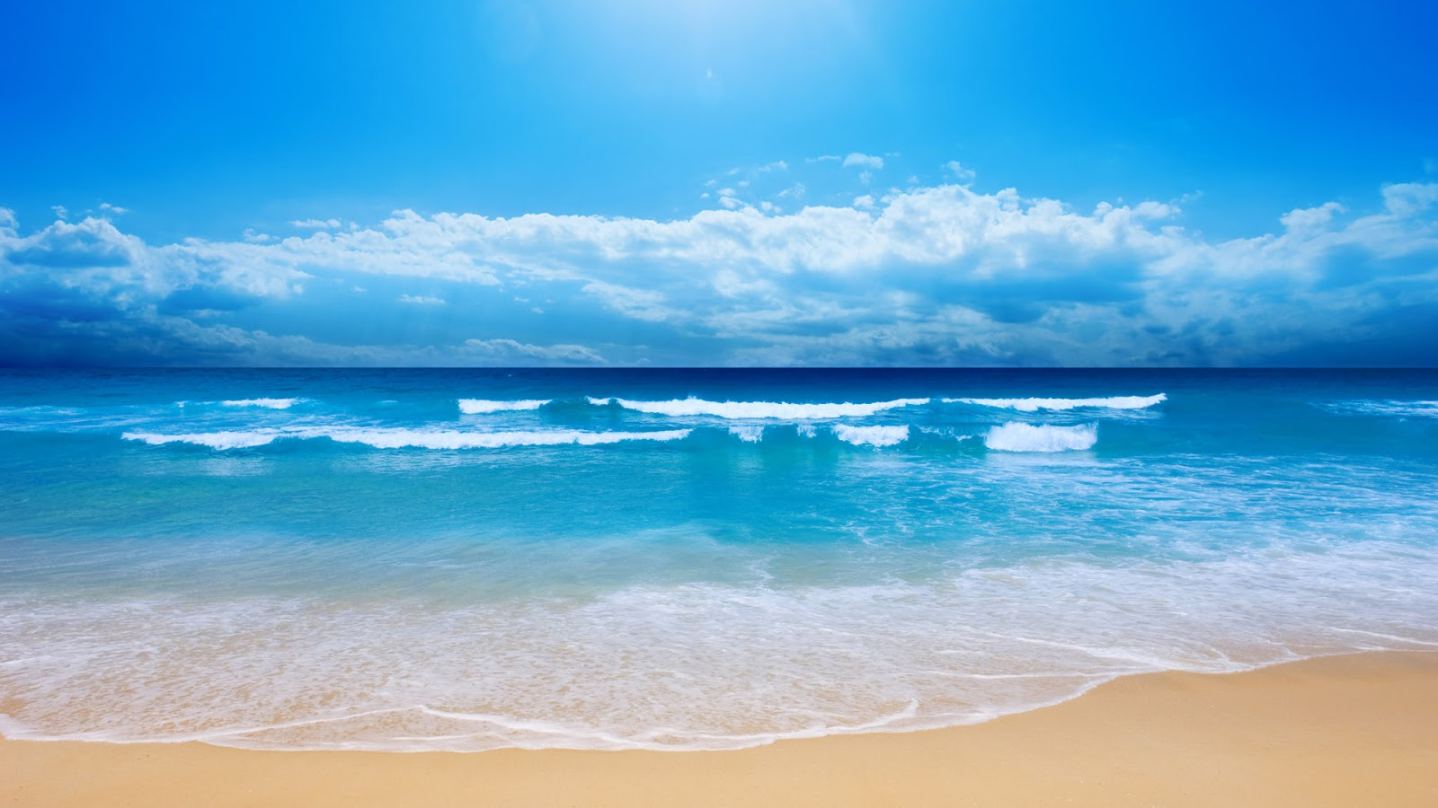 Blue sea beach sand wallpaper