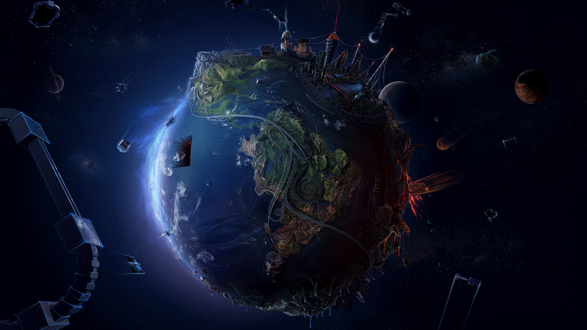 earth space hd wallpaper