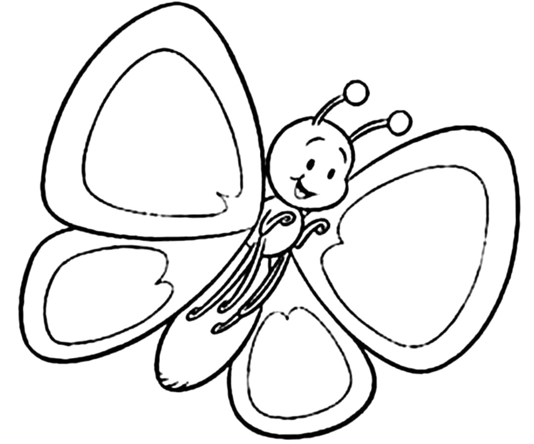 Coloring For Kids Butterfly - Hd Football