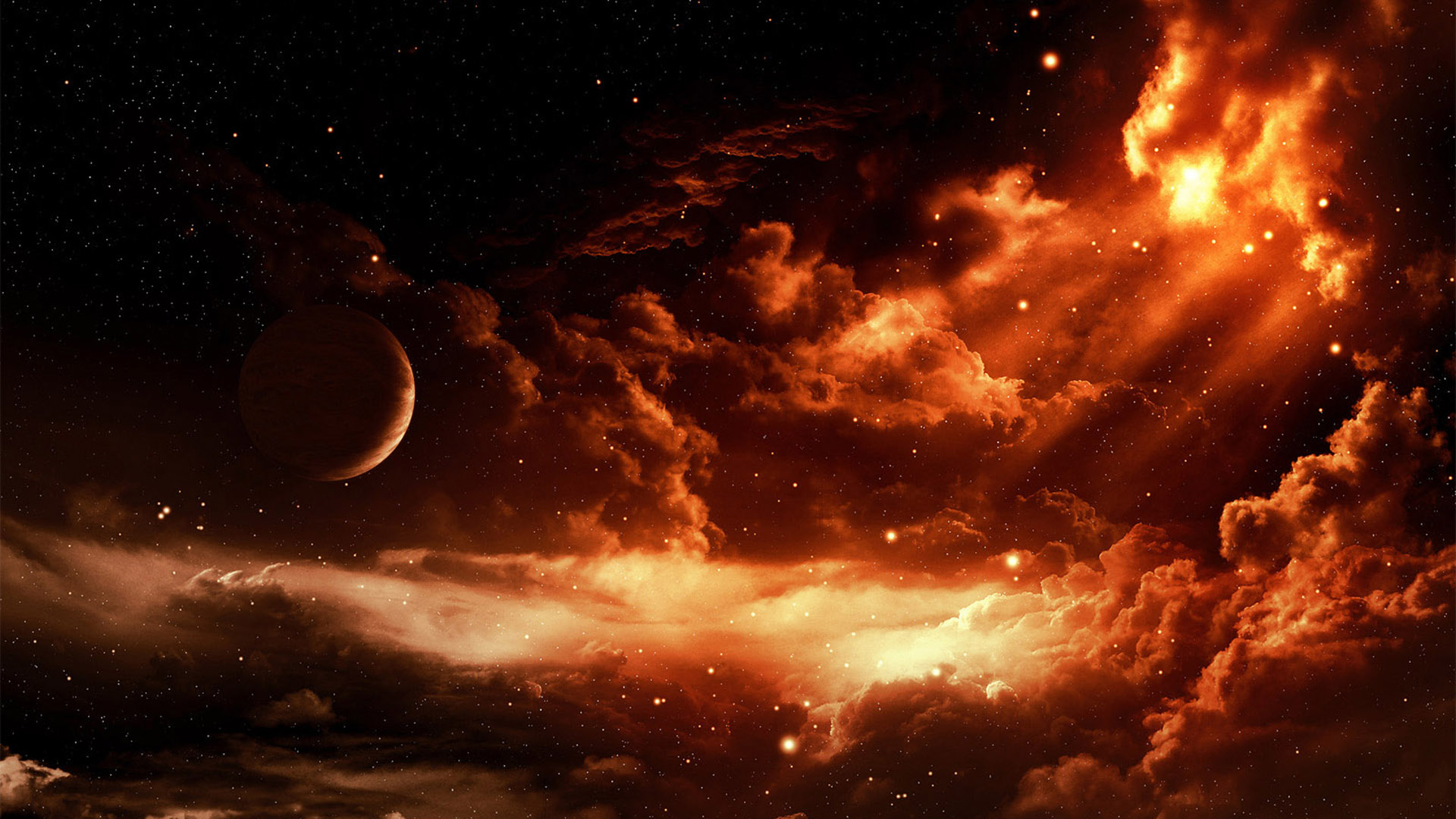 fire space hd wallpaper