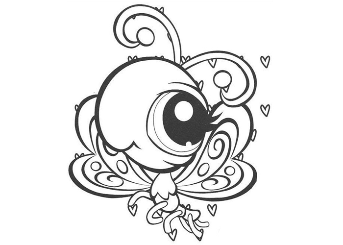 free cartoon butterfly coloring page