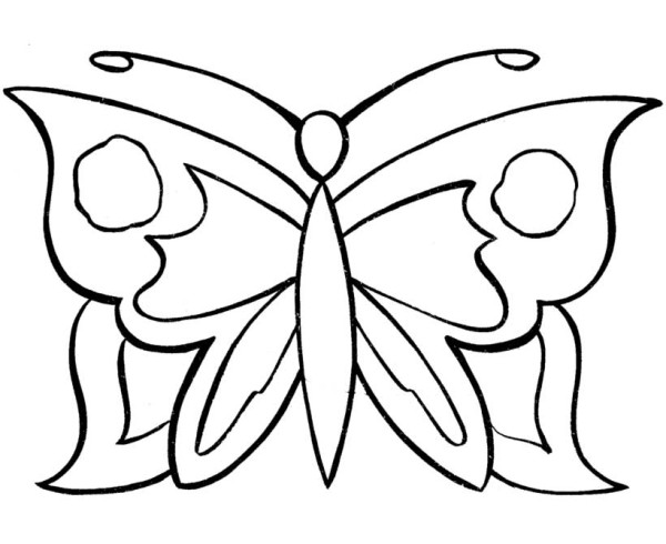 free simple pattern butterfly coloring page