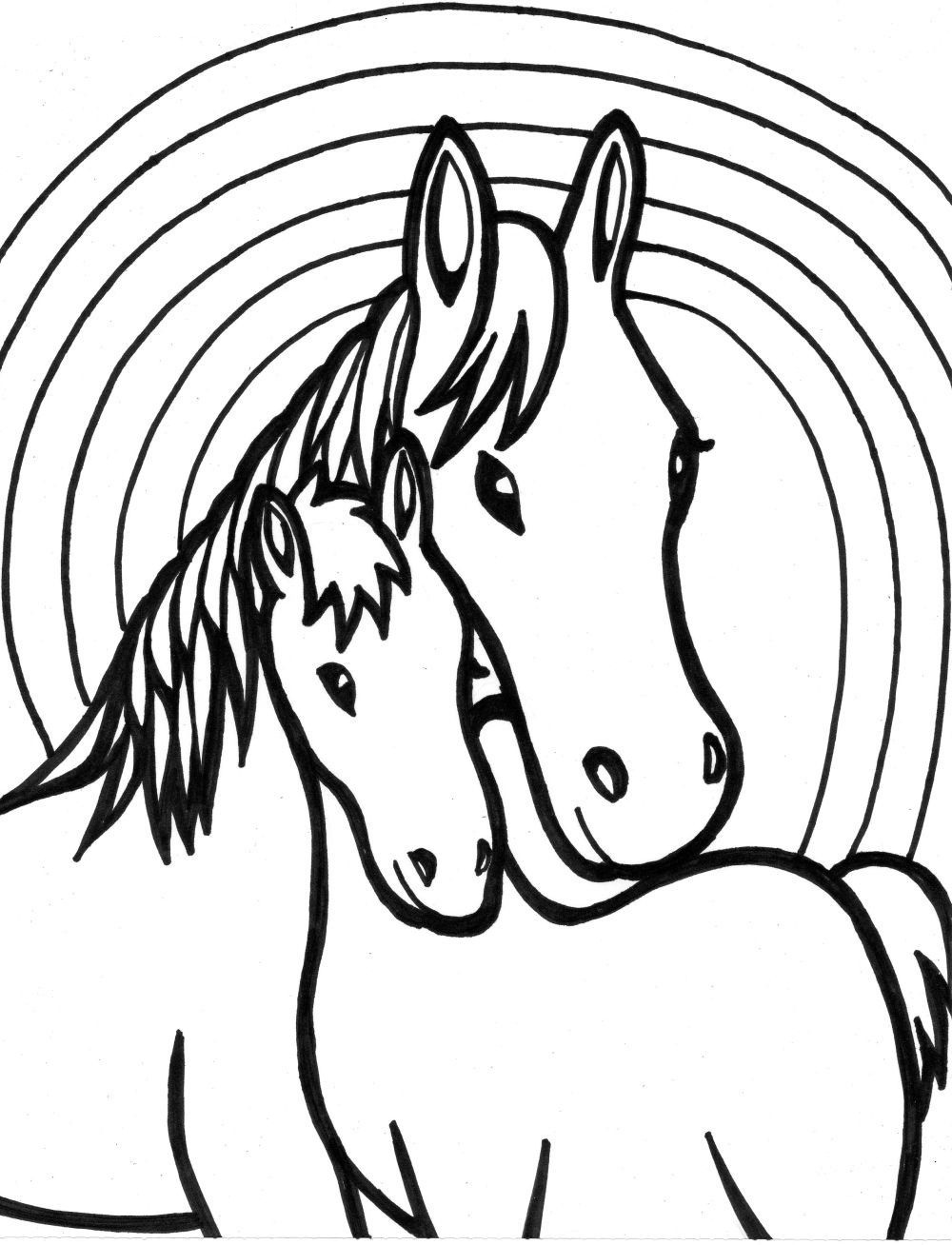 mom and baby - Free Coloring Pages Horses