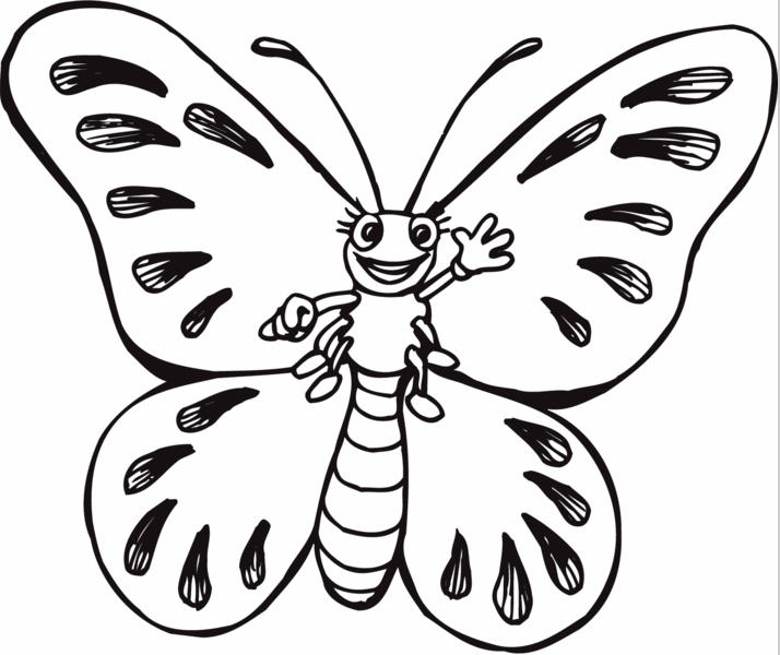 printable cartoon butterfly coloring page