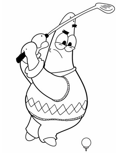 Patrick-Star-Playing-Golf-Coloring-Pages-Kids