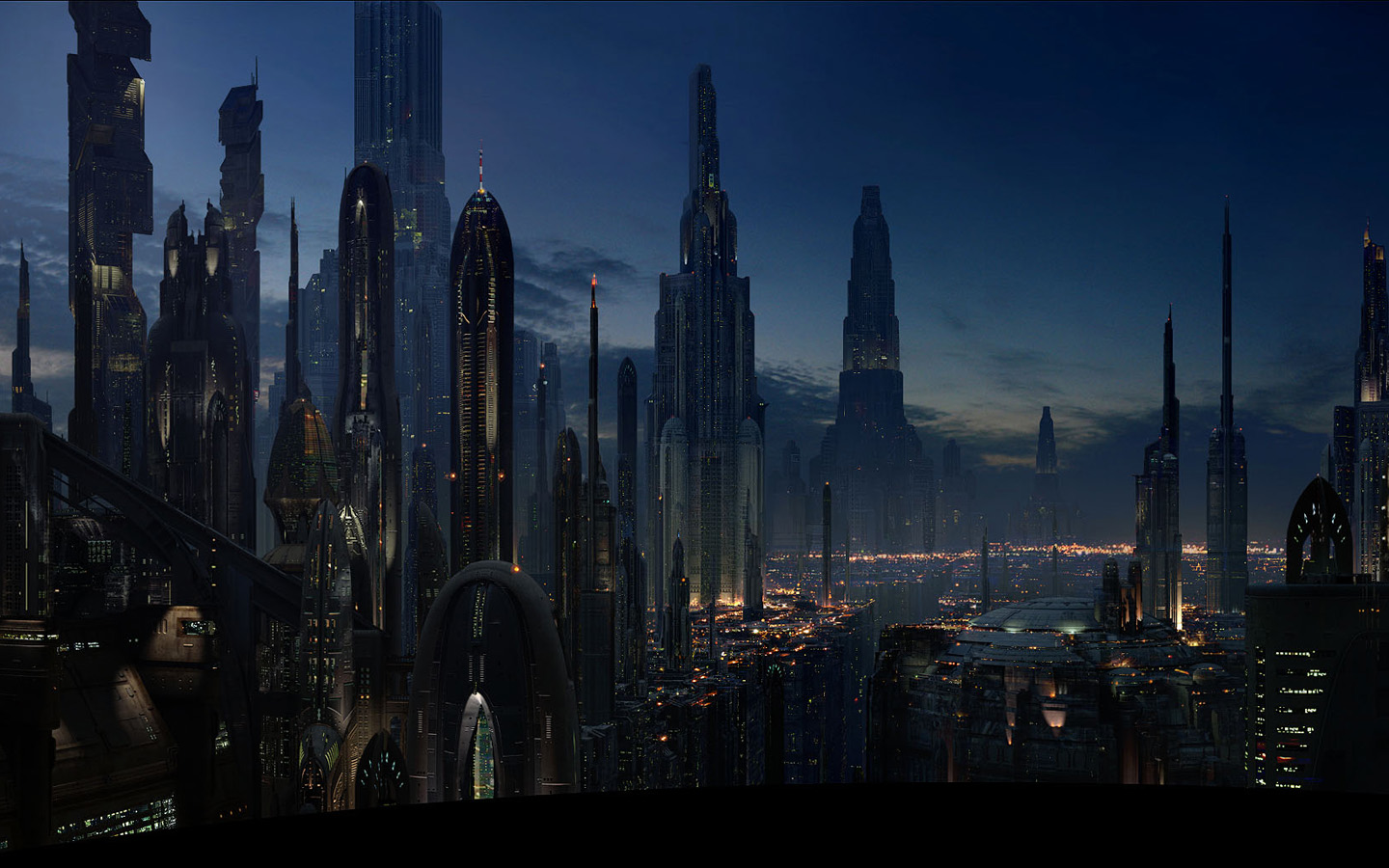 futuristic city digital wallpaper star wars
