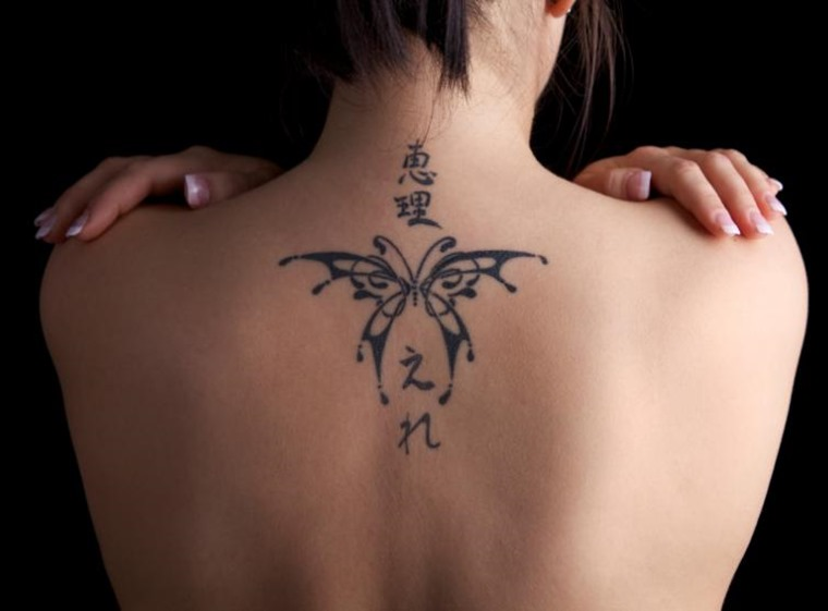 Upper-Back-Small-Butterfly-Tattoo-for-Women