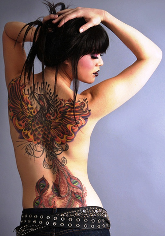 colored-ink-phoenic-full-back-tattoo-for-girls