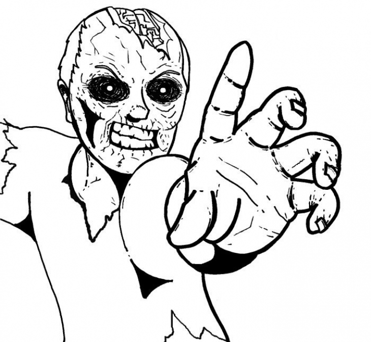 A Creepy Zombie Halloween Coloring Page For Teenagers