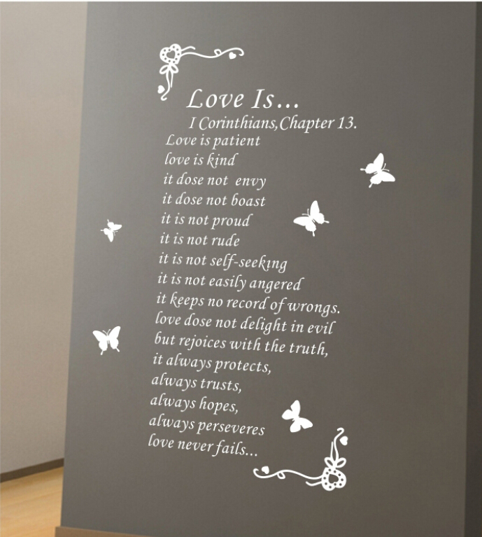 Vintage romantic love poem deals fashion DIY wall stickers