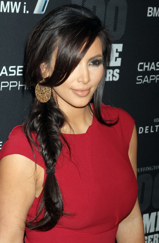 Kim-Kardashian-Hairstyle-Sexy-Side-Braid