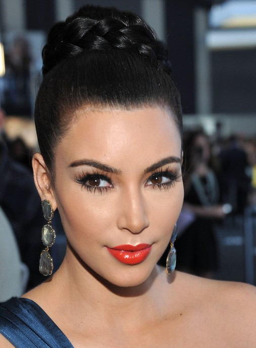 Kim-Kardashian-Long-Hairstyles-Braided-Updo