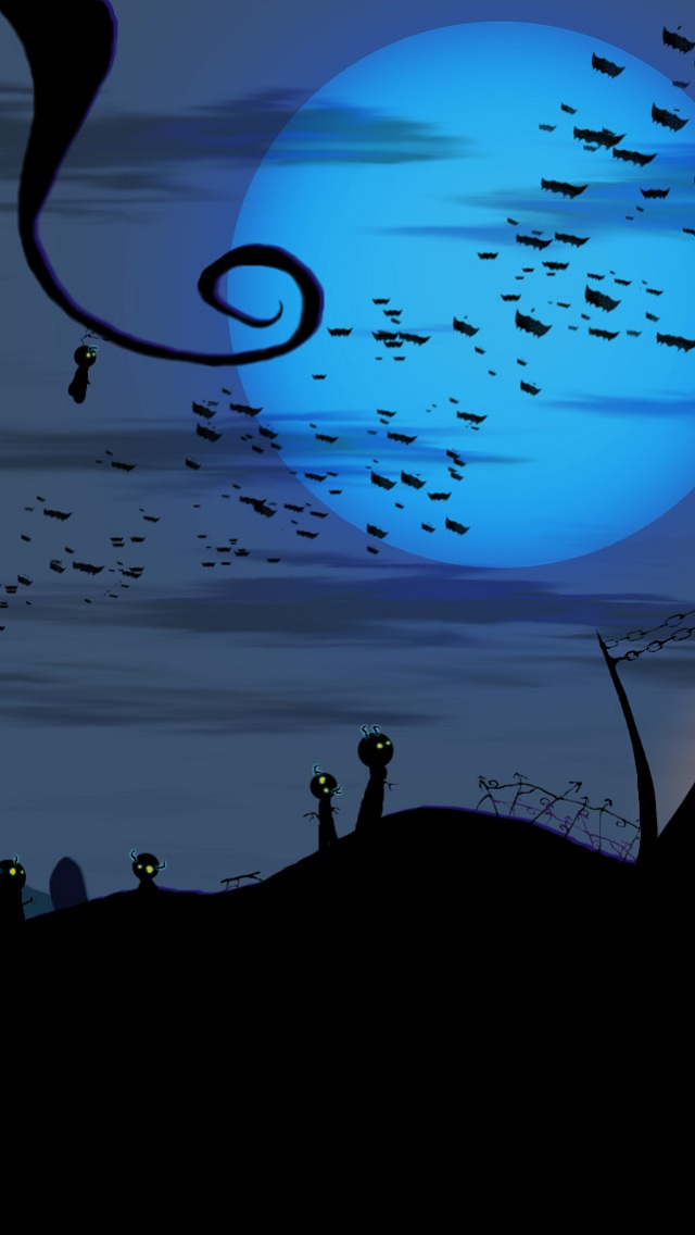 bats-over-cemetery-halloween-iphone-wallpaper