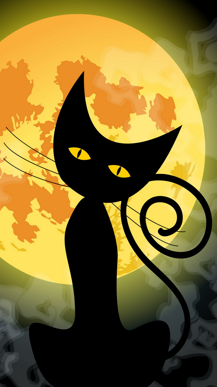 Vector illustration of a cute black cat in front of the full Moon - Halloween concept