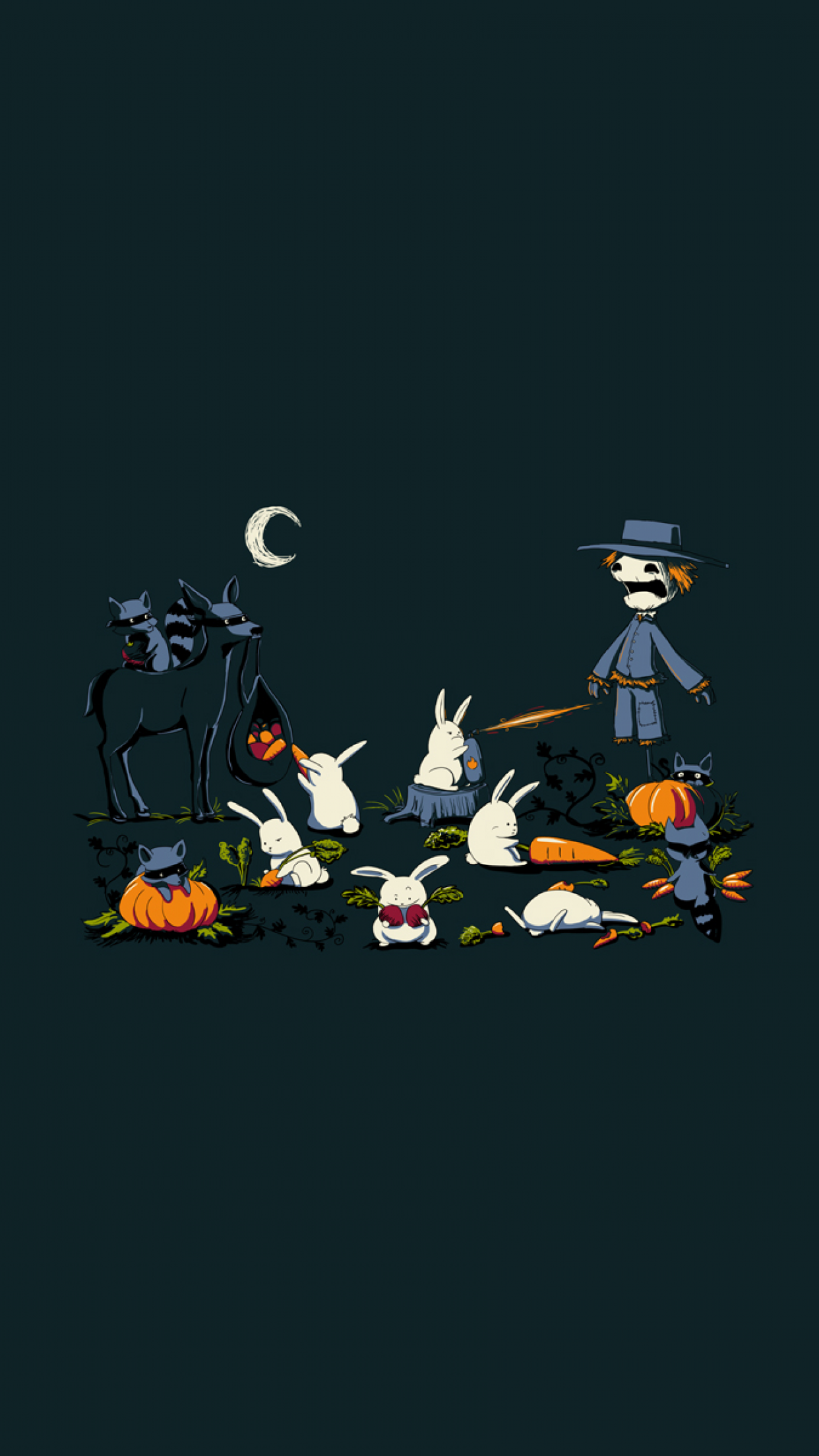 night_rabbits_scarecrows_dark_carrots_simple_halloween