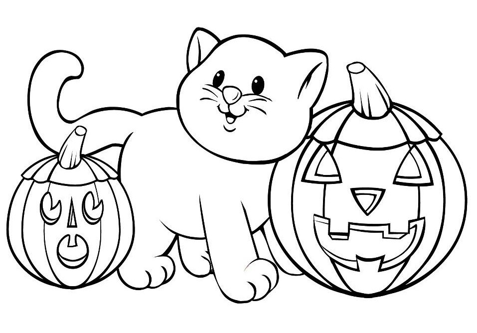 cat with pumpkin cat pumpkin halloween coloring pages - Fall Coloring Pages Printable