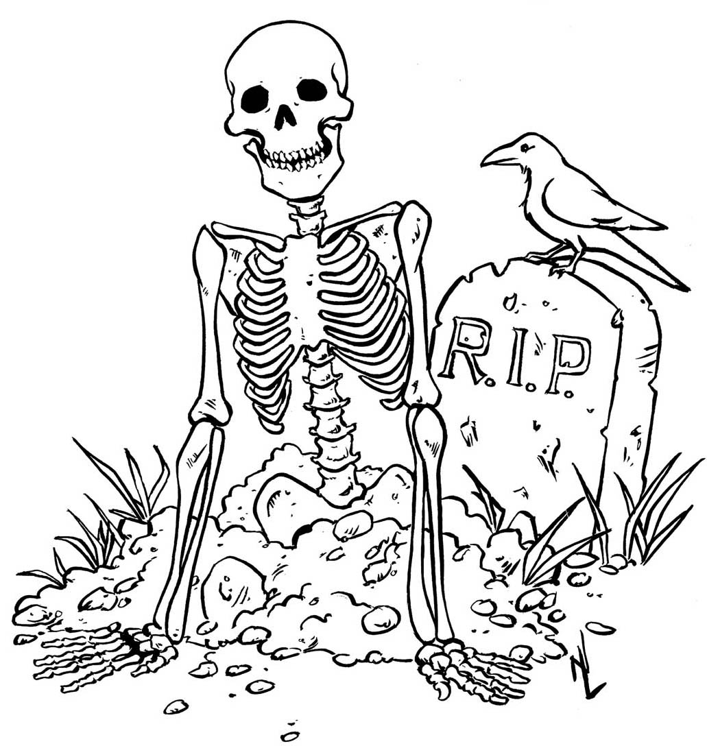 Skeleton Crow Coloring Pages