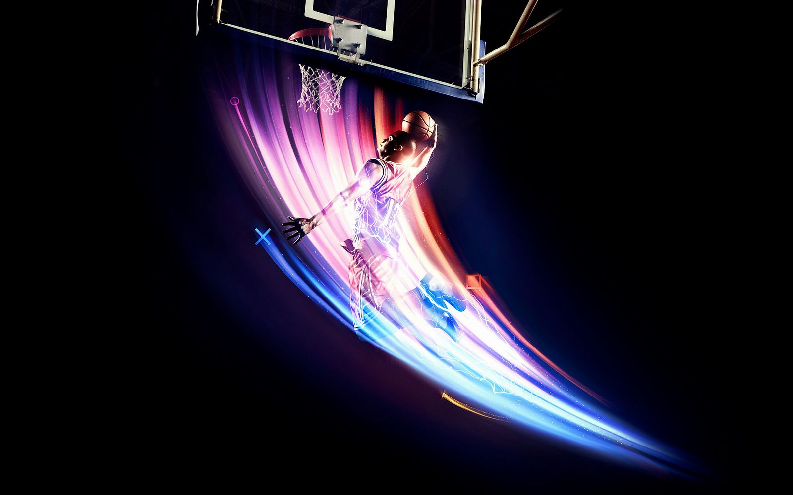 Basketball with sportman Wallpaper