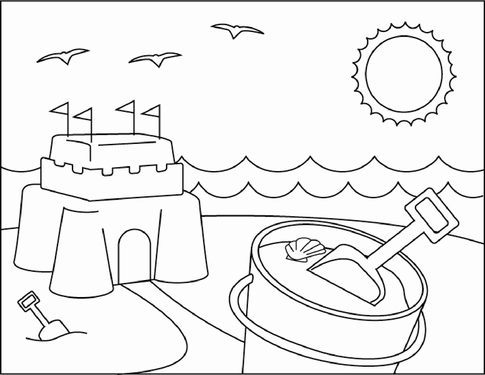 sand castle coloring page coloring pages